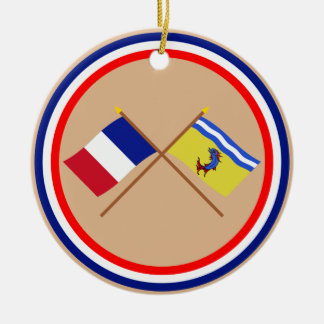 Crossed flags of France and Isère Round Ceramic Decoration