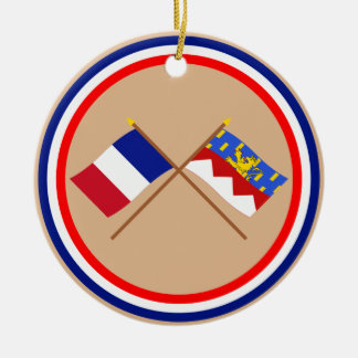Crossed flags of France and Jura Christmas Ornament