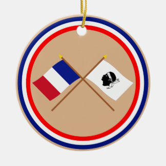 Crossed flags of France and La Corse Round Ceramic Decoration