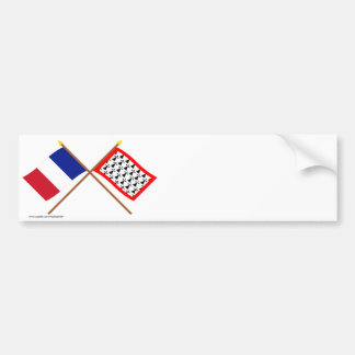 Crossed flags of France and Limousin Car Bumper Sticker