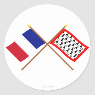 Crossed flags of France and Limousin Classic Round Sticker