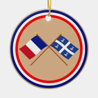 Crossed flags of France and Martinique Christmas Ornament