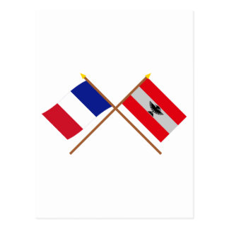 Crossed flags of France and New Caledonia Post Card