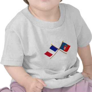 Crossed flags of France and Paris Tees