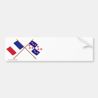 Crossed flags of France and Picardie Bumper Sticker