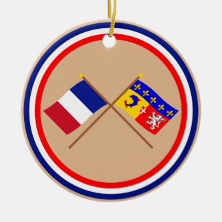 Crossed flags of France and Rhône-Alpes Double-Sided Ceramic Round Christmas Ornament