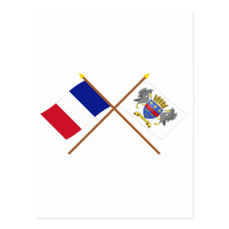 Crossed flags of France and Saint-Barthelemy Postcard