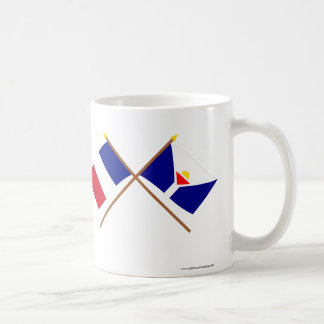 Crossed flags of France and Saint-Martin Mugs