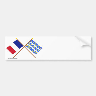 Crossed flags of France and Seine-et-Marne Car Bumper Sticker