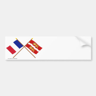 Crossed flags of France and Seine-Maritime Bumper Sticker
