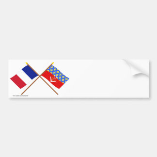 Crossed flags of France and Seine-Saint-Denis Car Bumper Sticker