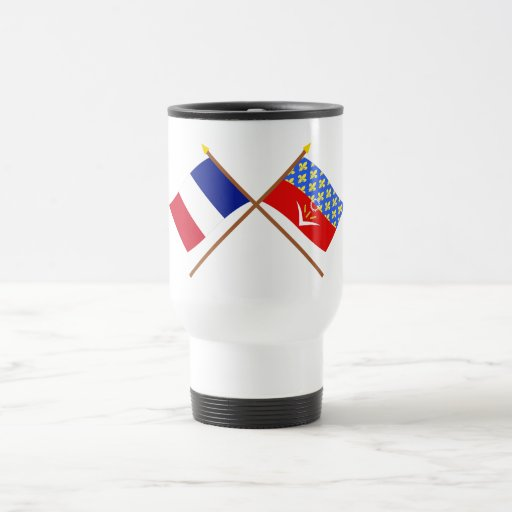 Crossed flags of France and Seine-Saint-Denis Mugs