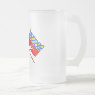 Crossed flags of France and Seine-Saint-Denis Frosted Glass Mug