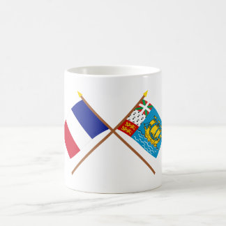 Crossed flags of France & Saint-Pierre et Miquelon Classic White Coffee Mug