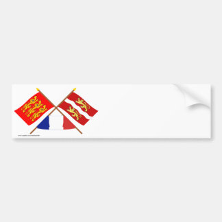 Crossed flags of Haute-Normandie & Seine-Maritime Bumper Sticker