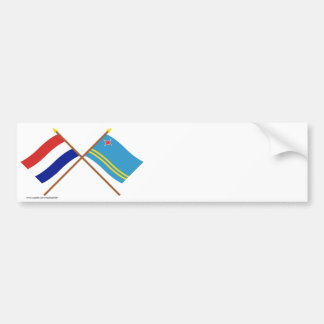 Crossed flags of Holland and Aruba Bumper Sticker