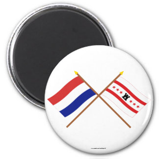 Crossed flags of Holland and Drenthe 6 Cm Round Magnet