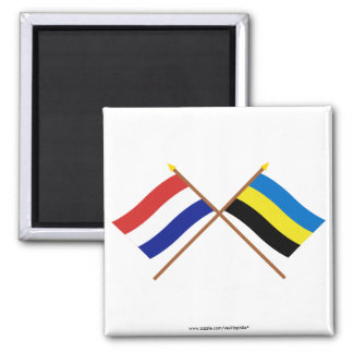 Crossed flags of Holland and Gelderland Square Magnet