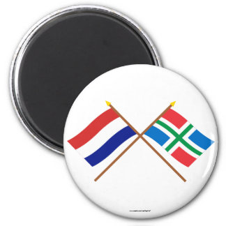 Crossed flags of Holland and Groningen 6 Cm Round Magnet
