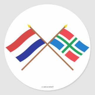 Crossed flags of Holland and Groningen Round Sticker