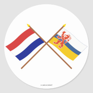 Crossed flags of Holland and Limburg Round Sticker