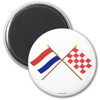 Crossed flags of Holland and Noord-Brabant 6 Cm Round Magnet
