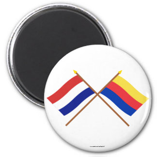 Crossed flags of Holland and Noord-Holland 6 Cm Round Magnet