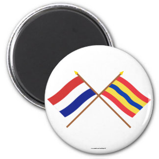 Crossed flags of Holland and Overijssel 6 Cm Round Magnet