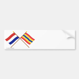Crossed flags of Holland and Overijssel Bumper Sticker