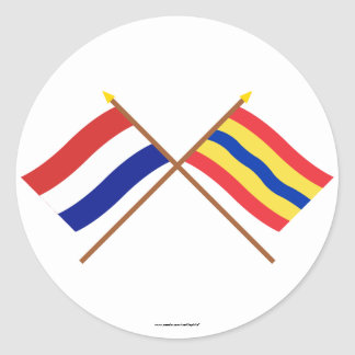 Crossed flags of Holland and Overijssel Sticker