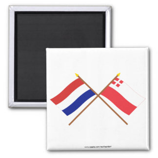 Crossed flags of Holland and Utrecht Square Magnet
