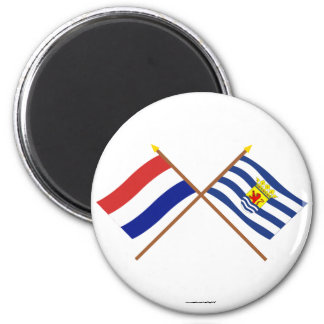 Crossed flags of Holland and Zeeland 6 Cm Round Magnet