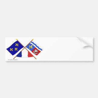 Crossed flags of Île-de-France and Hauts-de-Seine Bumper Sticker