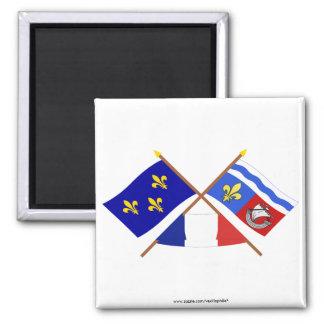Crossed flags of Île-de-France and Hauts-de-Seine Square Magnet