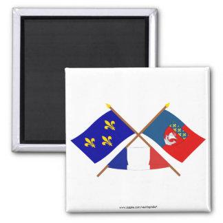 Crossed flags of Île-de-France and Paris Square Magnet