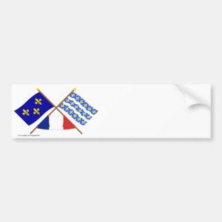 Crossed flags of Île-de-France and Seine-et-Marne Bumper Sticker