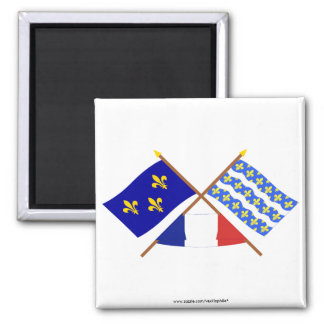 Crossed flags of Île-de-France and Seine-et-Marne Square Magnet