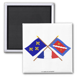 Crossed flags of Île-de-France and Val-d Oise Magnets