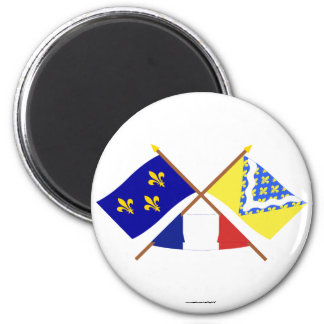 Crossed flags of Île-de-France and Val-de-Marne 6 Cm Round Magnet