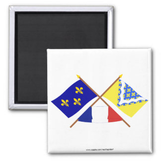 Crossed flags of Île-de-France and Val-de-Marne Magnets