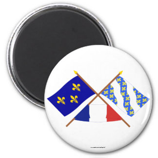 Crossed flags of Île-de-France and Yvelines 6 Cm Round Magnet