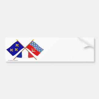 Crossed flags of Île-de-France & Seine-Saint-Denis Bumper Sticker