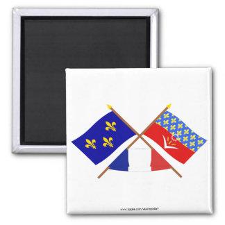 Crossed flags of Île-de-France & Seine-Saint-Denis Square Magnet