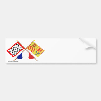 Crossed flags of Limousin and Corrèze Car Bumper Sticker