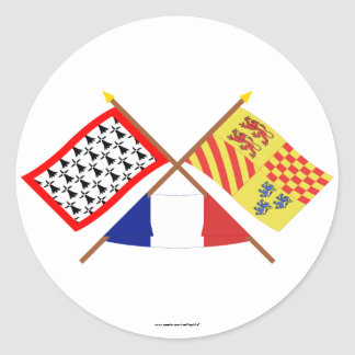 Crossed flags of Limousin and Corrèze Classic Round Sticker