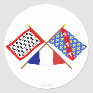 Crossed flags of Limousin and Creuse Round Sticker