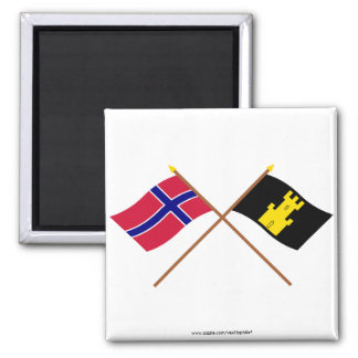 Crossed flags of Norway and Finnmark Square Magnet