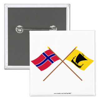 Crossed flags of Norway and Nordland 15 Cm Square Badge