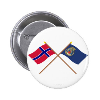 Crossed flags of Norway and Oslo Pinback Buttons