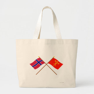Crossed flags of Norway and Sør-Trøndelag Large Tote Bag